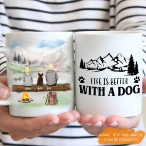 Hiking With Dogs Dad Mom Couple Dog Lovers Personalized Coffee Mug 3 YRC0812002