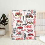 Red Tractor And Farm Vehicles Personalized Fleece Blanket