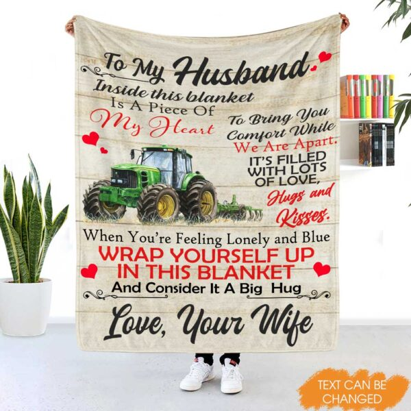 To My HusbandSon Personalized Tractor Gift Fleece Blanket YR0212002
