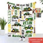 Tractor And Farm Vehicles Custom Baby Blanket With Name Personalized Fleece Blankets