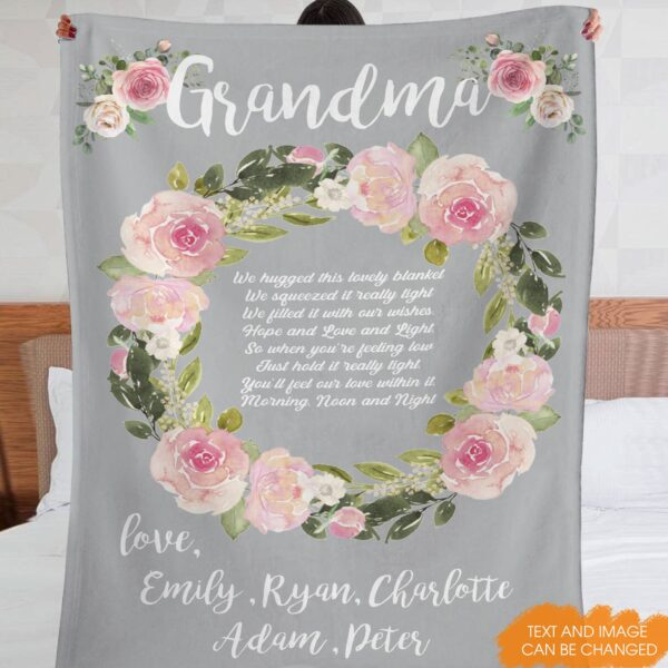 We Hugged This Blanket Grandma Gift Personalized Fleece Blanket 1 YRC0312001