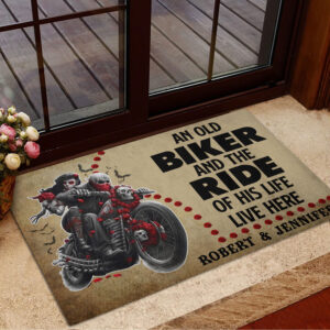 An Old Biker And The Ride Of His Life Personalized Doormat YDH20010042