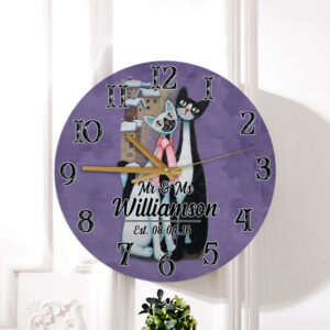 Cat Couple Gift For Valentine s Day Husband Wife Lovers Personalized Wooden Clock 4 YZC2101002