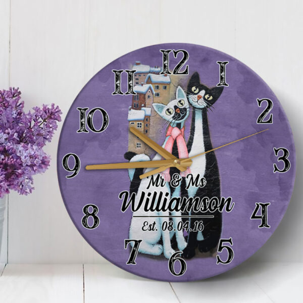 Cat Couple Gift For Valentine s Day Husband Wife Lovers Personalized Wooden Clock 5 YZC2101002