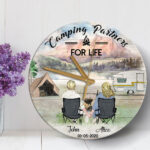 Camping Couple Personalized Wooden Clock