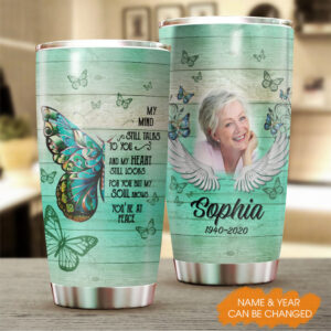 Butterfly Memorial Family Gift Personalized Stainless Steel Tumbler YZH0202004
