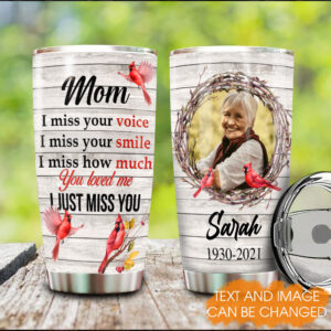 Cardinal Memorial I Just Miss You Personalized Stainless Steel Tumbler
