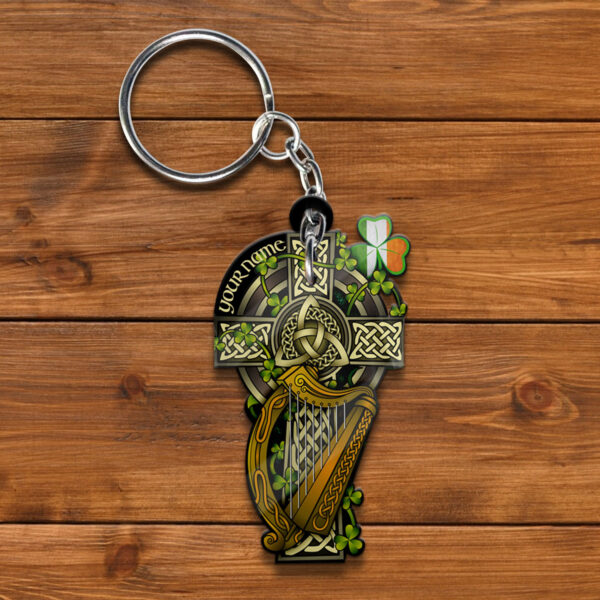 Celtic Cross St. Patrick s Day Personalized Wooden Keychain YZH19021064