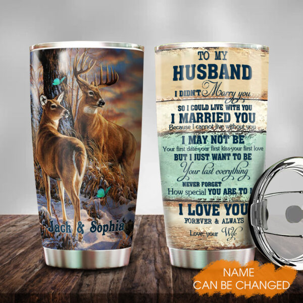 Deer Couple Husband And Wife Personalized Stainless Steel Tumbler YDH0302006