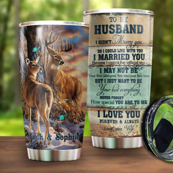 Deer Couple Husband And Wife Personalized Stainless Steel Tumbler YDH03020062