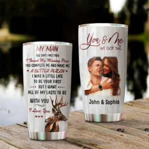 Deer Couple To My Man Custom Your Image Personalized Stainless Steel Tumbler