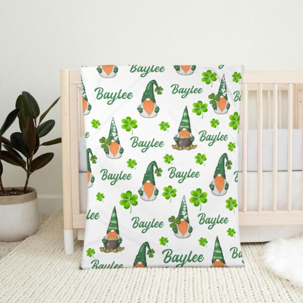 Gnome St. Patrick s Day Personalized Fleece Blanket 2 YAC1802103