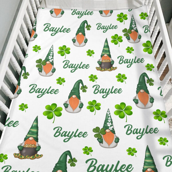Gnome St. Patrick s Day Personalized Fleece Blanket4 YAC1802103