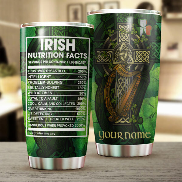 Irish Nutrition Facts ST. Patrick_s Day Gift Personalized Stainless Steel Tumbler