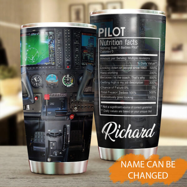 Pilot Funny Nutrition Facts Personalized Stainless Steel Tumbler YZG0402006 MK 1