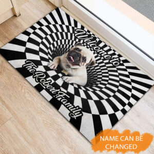 Pug 3D Hole Rubber Base Doormat YZG2202105 Mk 1