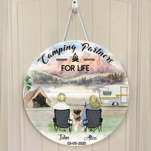 Camping Couple Personalized Wooden Sign