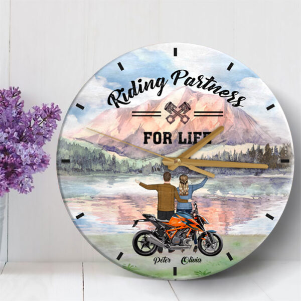 Riding Partners For Life Personalized Wooden Clock 2 YDC0202001