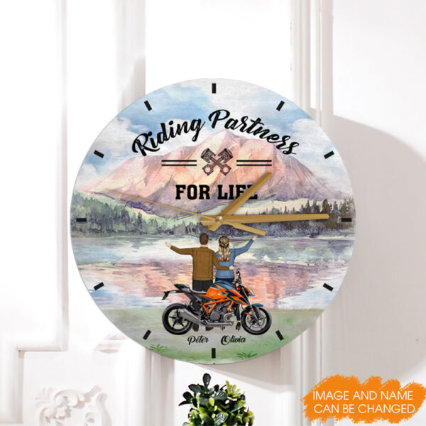 Riding Partners For Life Personalized Wooden Clock 3 YDC0202001