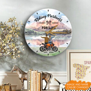 Riding Partners For Life Personalized Wooden Clock 6 YDC0202001