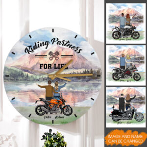 Riding Partners For Life Personalized Wooden Clock 7 YDC0202001
