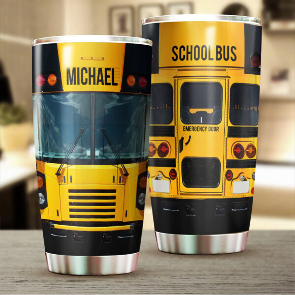School Bus For Bus Driver Personalized Stainless Steel Tumbler 1