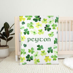 Shamrock Blanket Patrick Day Personalized Fleece Blanket 4 YDC1802103