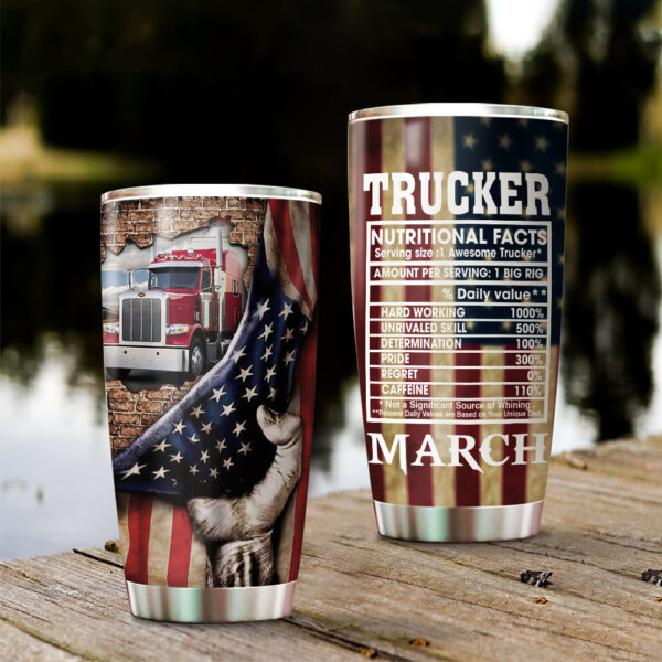 Trucker Nutrition Fact Personalized Steel Stainless Tumbler YDH20021061