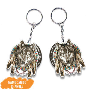 Wolf Native American Personalized Wooden Keychain