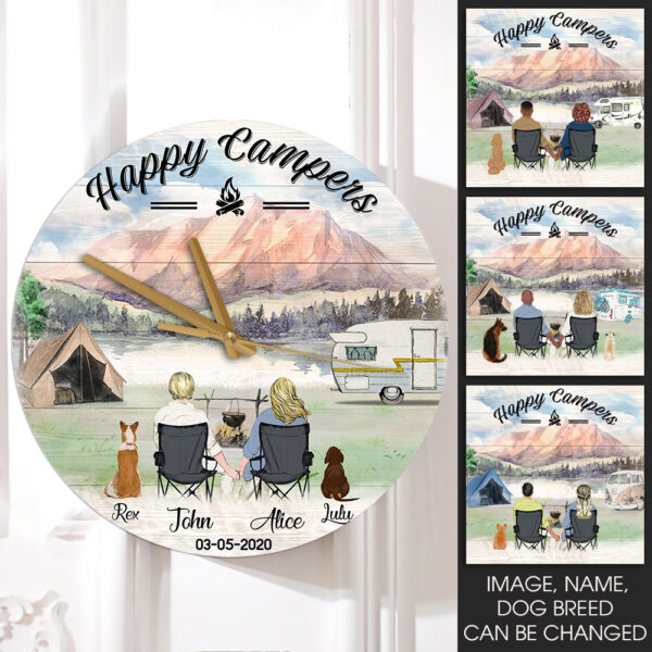 Happy Campers With Dogs Personalized Wooden Clock