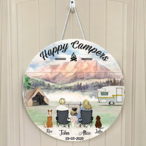 Happy Campers With Dogs Personalized Wooden Sign