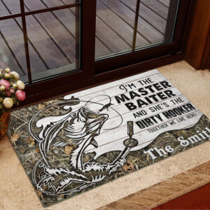 Fishing Personalized Rubber Base Doormat
