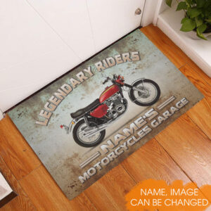 Name's Motorcycle Garage Personalized Rubber Base Doormat