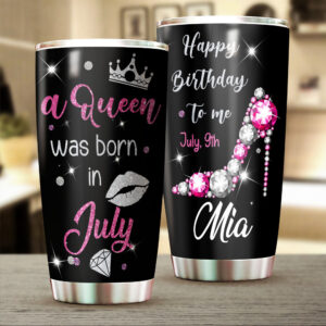 A Queen Was Born Birthday Gifts Personalized Stainless Steel Tumbler
