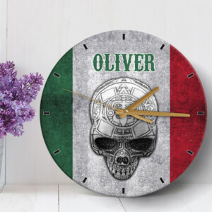 Aztec Mexican Skull Personalized Wooden Clock