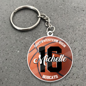 Basketball Custom Yours Personalized Wooden Keychain 1 YZC0103104