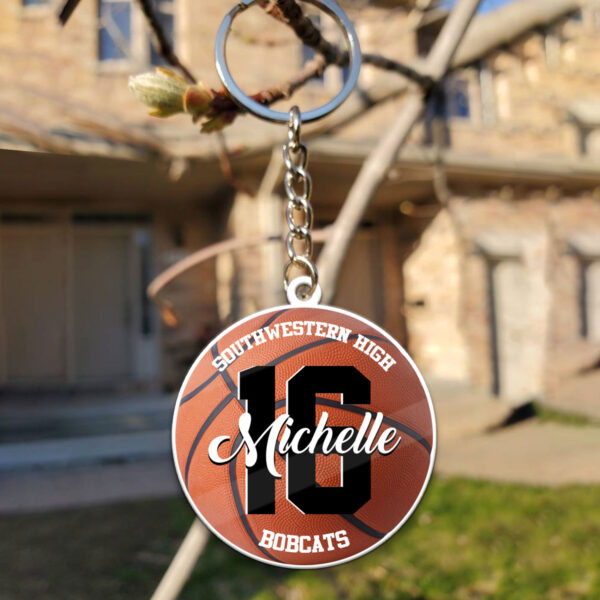 Basketball Custom Yours Personalized Wooden Keychain 4 YZC0103104
