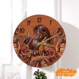 Brown Horse Scroll Pattern Personalized Wooden Clock
