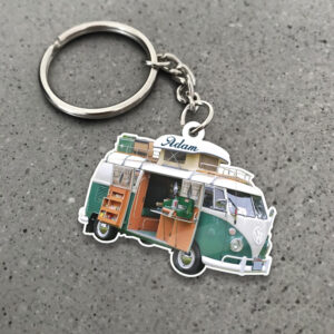 Camper Van Bus For Camping Personalized Wooden Keychain 2 YZC0403106