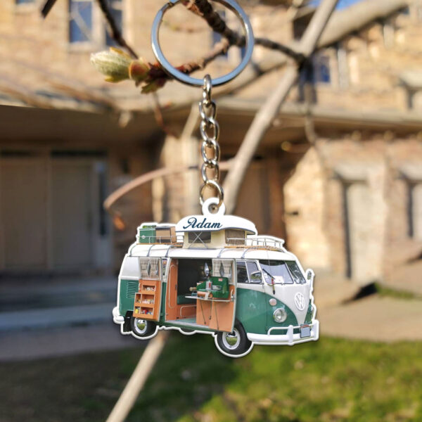 Camper Van Bus For Camping Personalized Wooden Keychain 4 YZC0403106