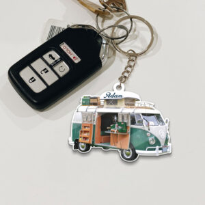 Camper Van Bus For Camping Personalized Wooden Keychain 5 YZC0403106