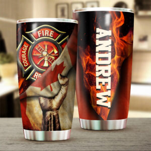 Canadian Firefighter Personalized Stainless Steel Tumbler