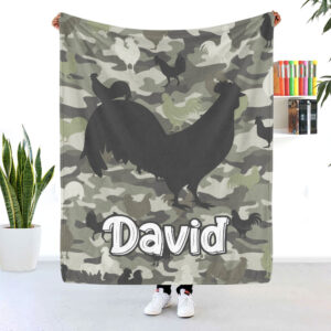 Chicken Pattern Personalized Fleece Blanket