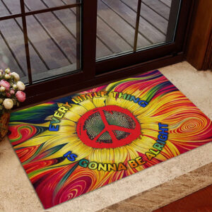 Hippie Every Little Thing Is Gonna Be Alright Rubber Base Doormat