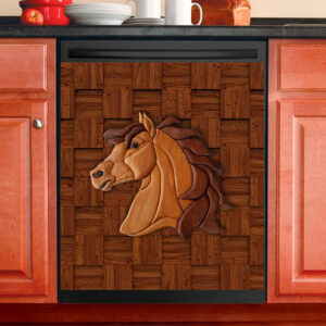 Horse Wooden Texture Dishwasher Cover