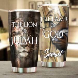 Lion Of Judah Lamb Of God Personalized Stainless Steel Tumbler 1
