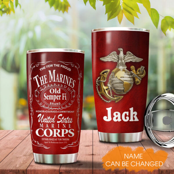 Marine Corp Personalized Stainless Steel Tumbler