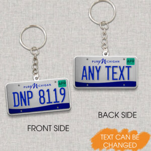 Michigan License Plate Personalized Keychain