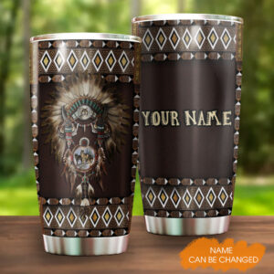 Native American Dreamcatcher And Wolf Personalized Stainless Steel Tumbler