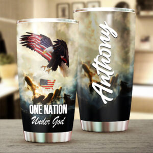 One Nation Under God Us Flag Personalized Stainless Steel Tumbler 1